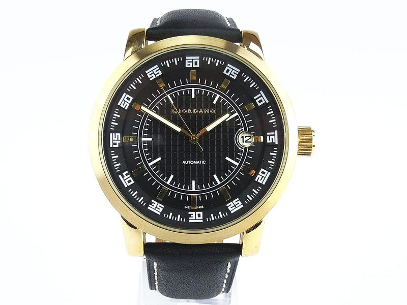 giordano automatik uhr gold schwarz tachymeter datumsanzeige schwarz gestepptes lederarmband. Black Bedroom Furniture Sets. Home Design Ideas