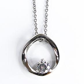 Caster Jewelry - Moderne Kette mit steinbesetztem rundem Anhänger