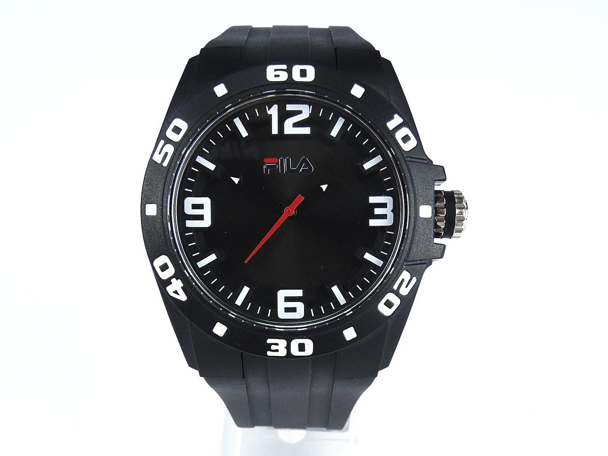 Fila Sportuhr schwarzes Kautschuk-Armband, schwarzes Ziffernblatt
